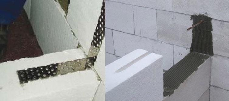 Варианты перевязки перегородок с несущими стенами