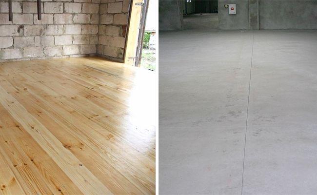 Деревянный и бетонный пол