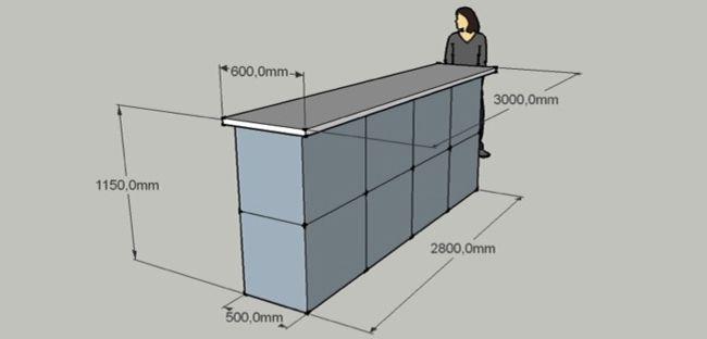 Возможные размеры бетонной барной стойки