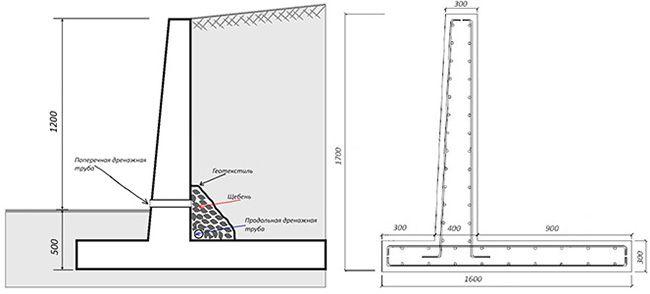 Чертеж для изготовления подпорной стенки