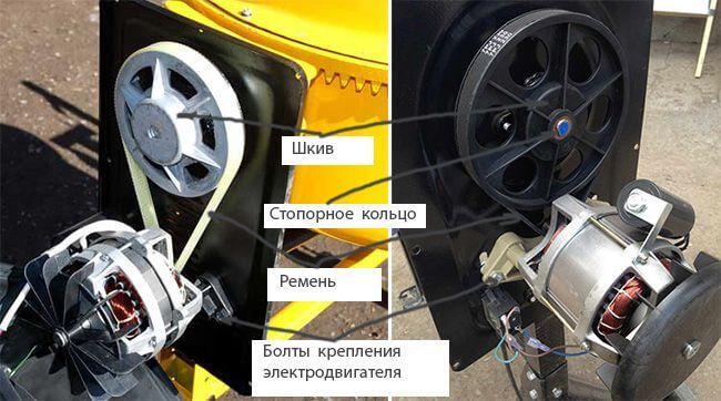 Для замены ремня необходимо ослабить болты крепления электродвигателя