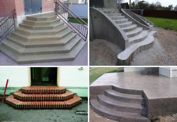 Форма бетонного крыльца ограничена только фантазией