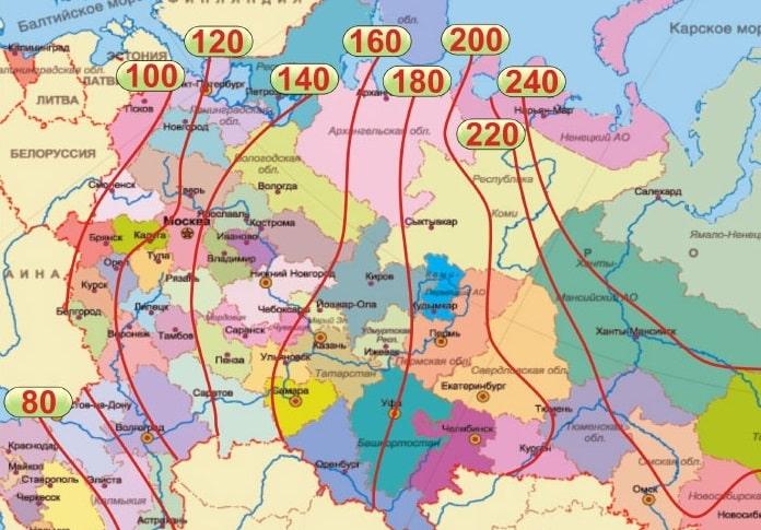 Карта глубины промерзания грунта