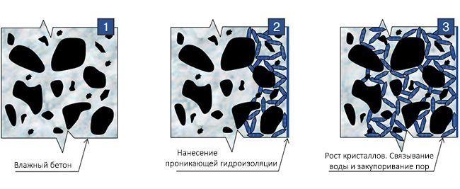 Образование кристаллов в бетоне