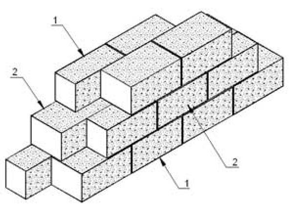 Кладка газобетона в два блока
