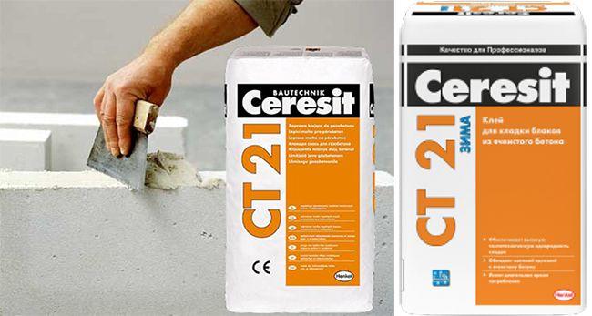 Летняя и зимняя клеевая смесь Ceresit CT 21