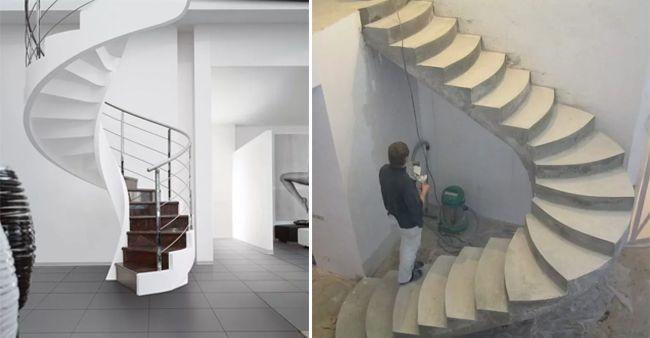 Разные формы бетонной лестницы