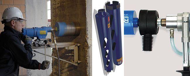 Алмазные коронки для мокрого сверления применяются в промышленном строительстве