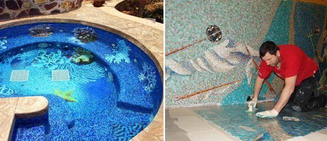 Мозаика является самым трудоемким вариантом отделки бассейна