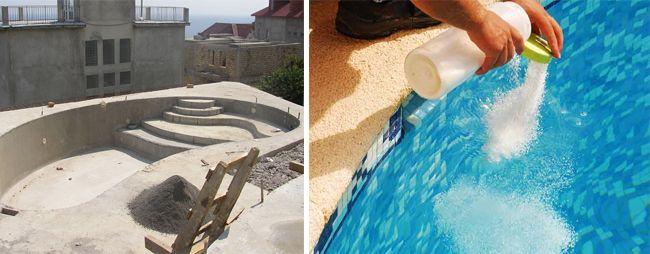 Отделка бассейна должны быть устойчивой к химикатам, используемым для очистки воды