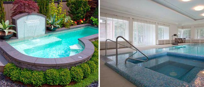 Открытый и закрытый бассейн в частном доме