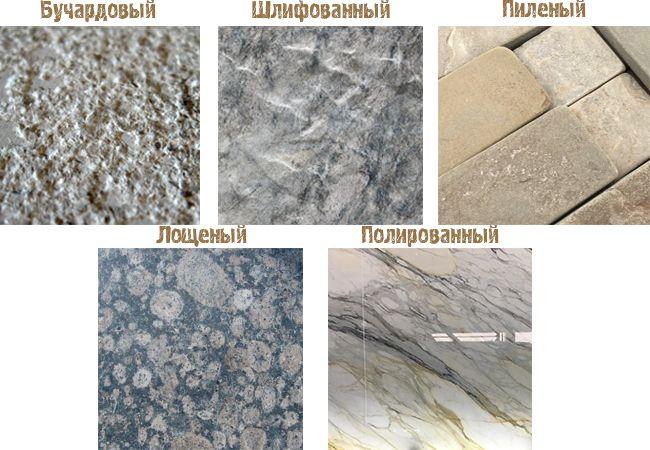 Типы текстур поверхностей натурального камня