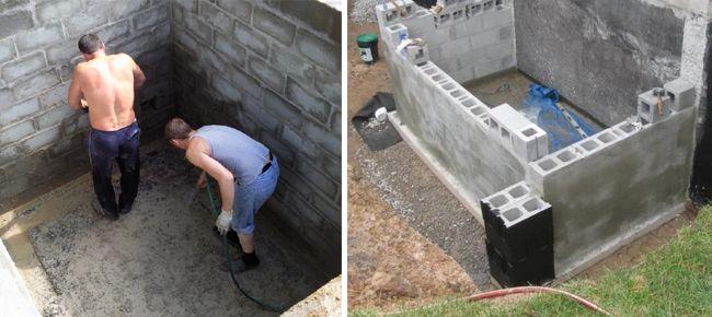 Возведение погреба из пеноблоков