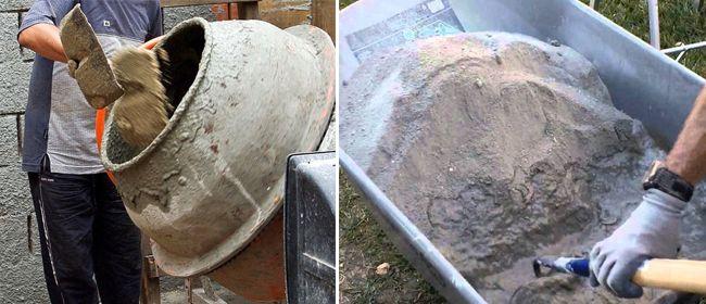 Замешивание раствора в бетономешалке и вручную