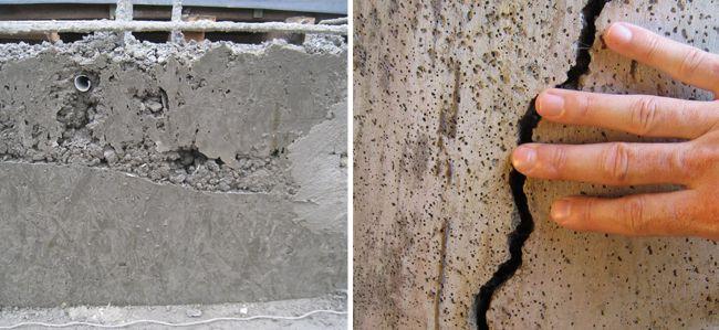 Прежде всего бетон стоит осмотреть визуально