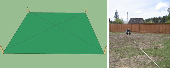 Диагональ измеряем с помощью строительного шнура