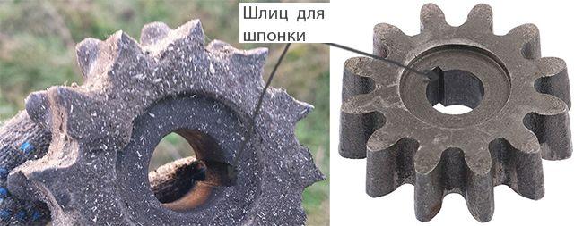 Новая рабочая шестерня фиксируется на валу при помощи шпонки и стопорного кольца