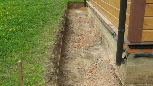 Разметка для бетонной отмостки с помощью колышек