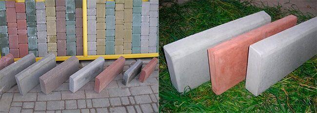 Готовые бордюрные камни производятся разных размеров