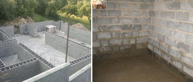 Цоколь часто строять из облегченных блоков