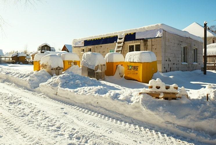 строительство из газобетона зимой