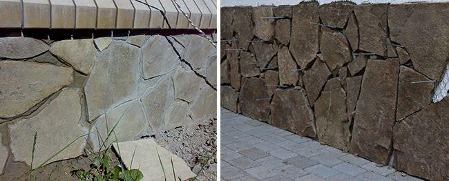 При необходимости камни поддерживаются штырями