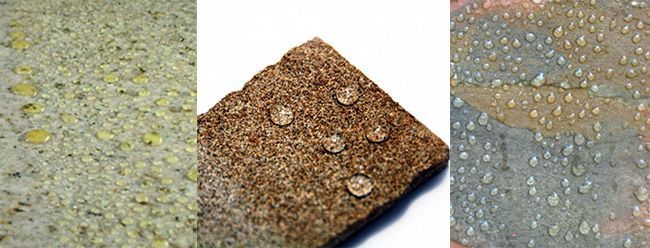 Чтобы проверить на гидрофобность, обильно поливаем искусственный камень водой