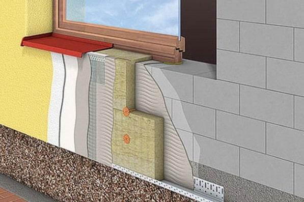 Схема утепления мокрого фасада минватой