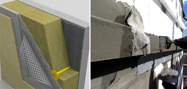 Армирующая сетка позволяет защитить от повреждений утеплитель