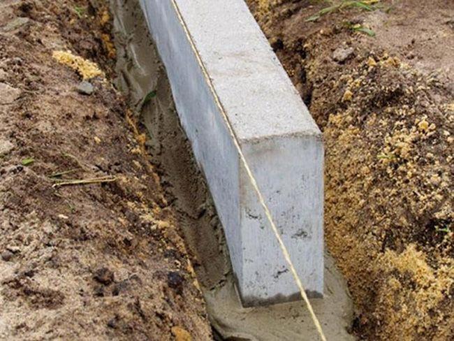 Установка бордюрного камня на цементно-песчаный раствор