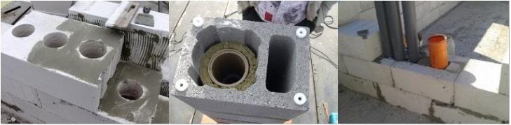 Варианты вентиляционных каналов в газобетонной стене