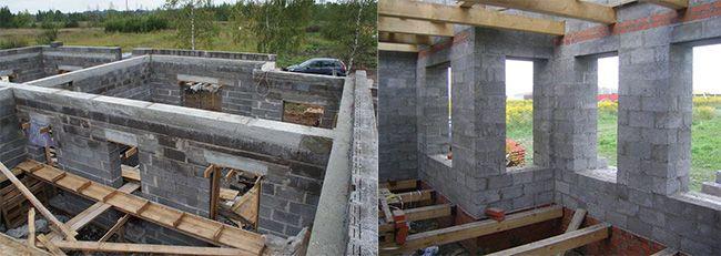 Для возведения межкомнатных перегородок и несущих конструкций используются разные по плотности блоки