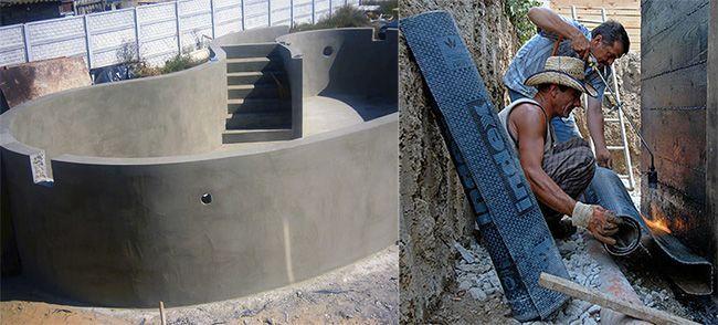 Швы внешней гидроизоляции являются минусом в обустройстве защиты бассейна